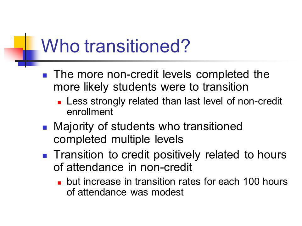 Who transitioned? The more non-credit levels completed the more likely students were to transition Less strongly related than last level of non-credit