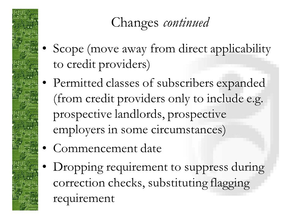 Changes to code following submissions notified code – July 2003 …submission and consideration period… Issued code – December 2004 Note: paper availabl