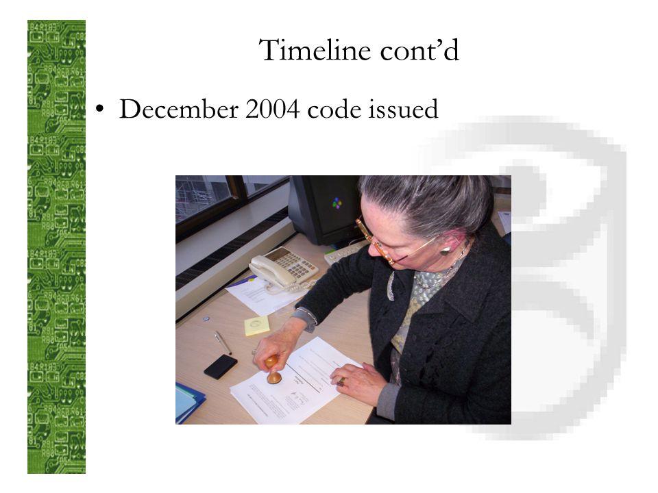 Timeline contd December 2004 code issued