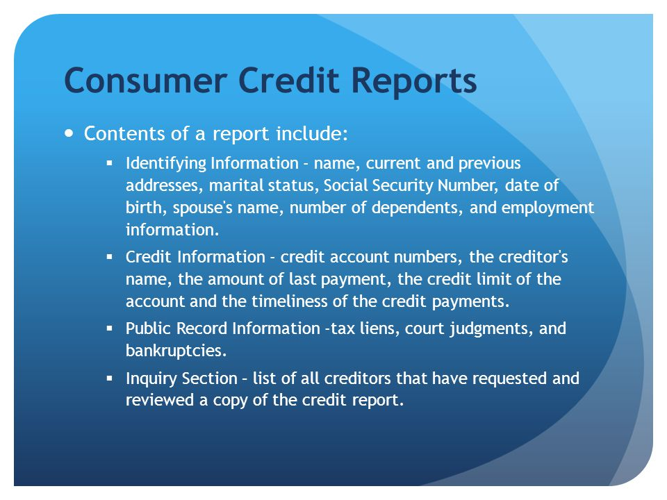 Consumer Reporting Agency Data Approximately one billion consumer credit reports are issued annually in the United States One billion credit cards are in use in the United States Four and a half billion pieces of data are entered monthly into credit records The Big Three - Equifax, Experian, and TransUnion, maintain 200 million credit files, in the United States