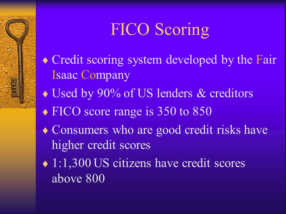 Five Factors of FICO Scoring Payment History: Paying debts in full and on time Outstanding Credit Card Balances: Marks ratio between outstanding balance & available credit Credit History: Length of time since opened accounts Type of Credit: Mix of installment and revolving accounts Inquiries: Credit inquiries within 12 months