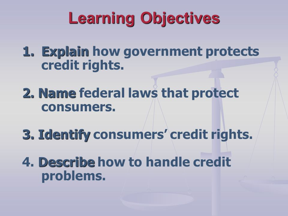 Learning Objectives 1.Explain 1.Explain how government protects credit rights.