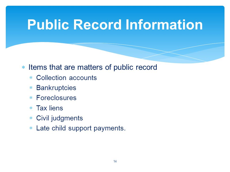 Items that are matters of public record Collection accounts Bankruptcies Foreclosures Tax liens Civil judgments Late child support payments.