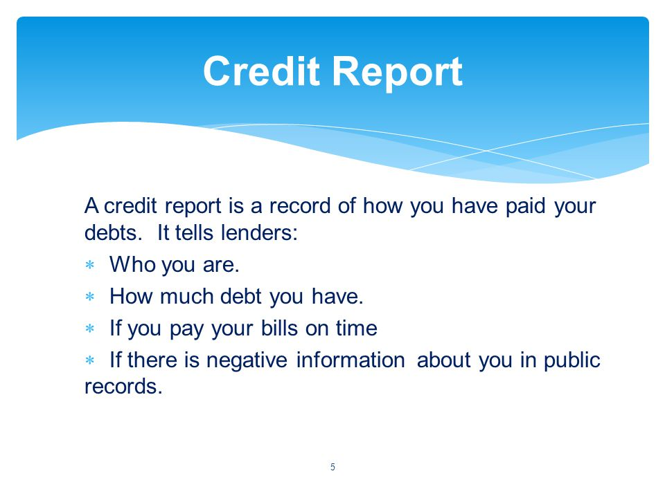 A credit report is a record of how you have paid your debts.