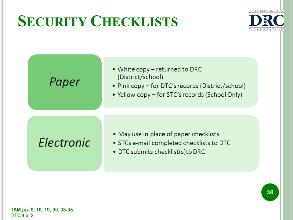 S ECURITY C HECKLISTS 36 White copy – returned to DRC (District/school) Pink copy – for DTCs records (District/school) Yellow copy – for STCs records (School Only) Paper May use in place of paper checklists STCs e-mail completed checklists to DTC DTC submits checklist(s)to DRC Electronic TAM pp.