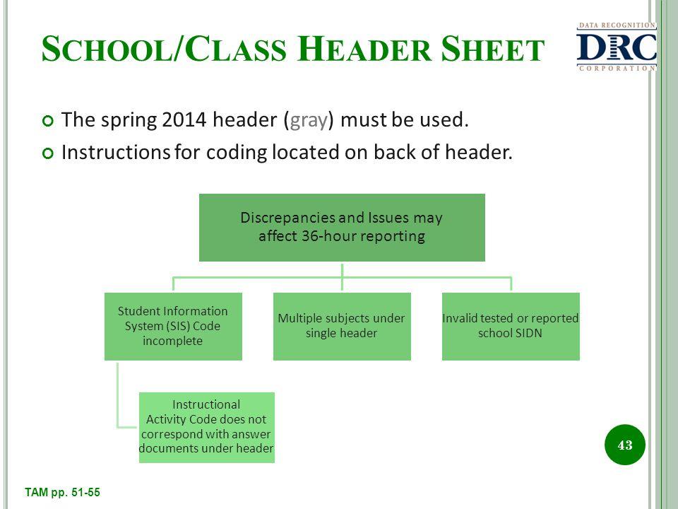 S CHOOL /C LASS H EADER S HEET The spring 2014 header (gray) must be used.