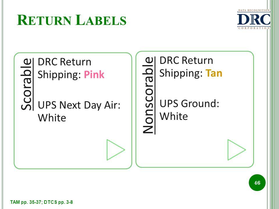 R ETURN L ABELS Scorable DRC Return Shipping: Pink UPS Next Day Air: White Nonscorable DRC Return Shipping: Tan UPS Ground: White 46 TAM pp.