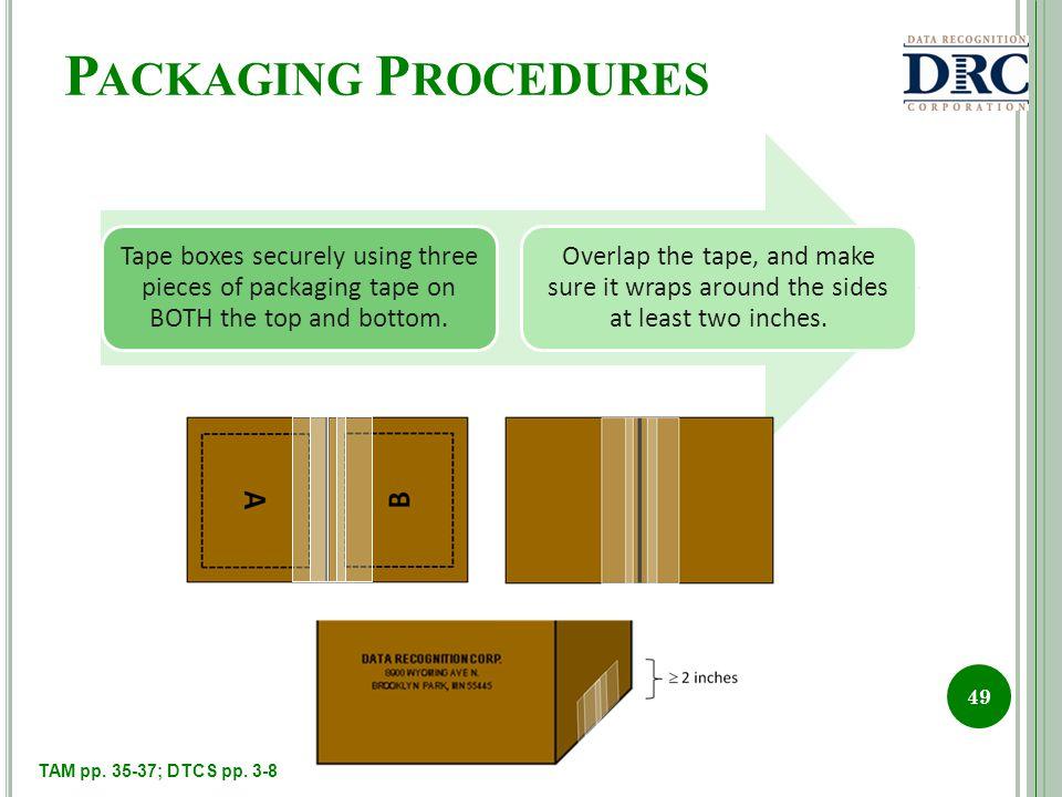 P ACKAGING P ROCEDURES 49 TAM pp. 35-37; DTCS pp. 3-8