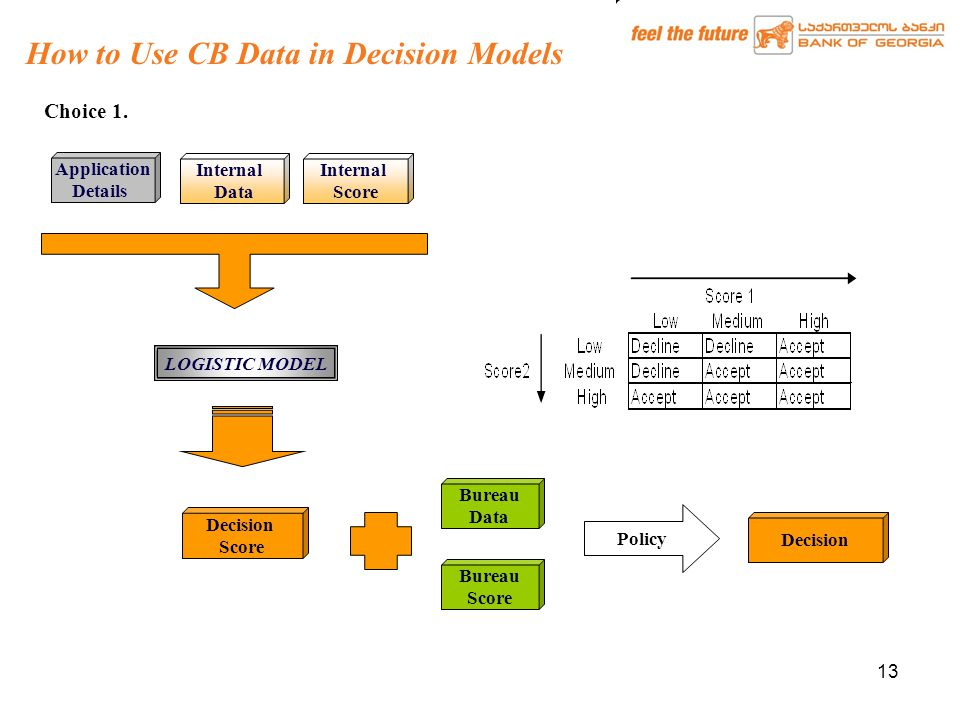 13 How to Use CB Data in Decision Models Application Details Internal Data Decision Score Bureau Score Bureau Data Policy Decision Internal Score LOGISTIC MODEL Choice 1.