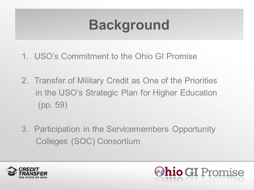 Background 1.USOs Commitment to the Ohio GI Promise 2.Transfer of Military Credit as One of the Priorities in the USOs Strategic Plan for Higher Education (pp.