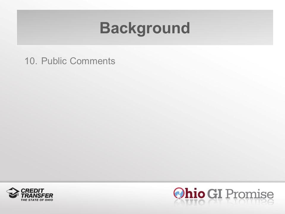 Background 10. Public Comments