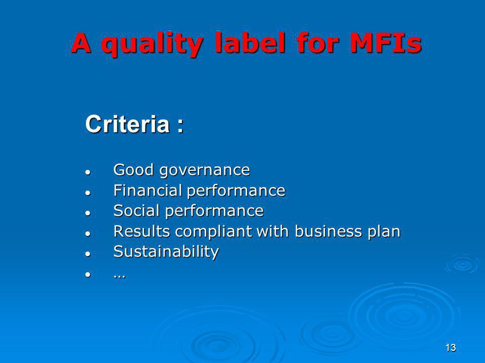 13 Criteria : Good governance Good governance Financial performance Financial performance Social performance Social performance Results compliant with