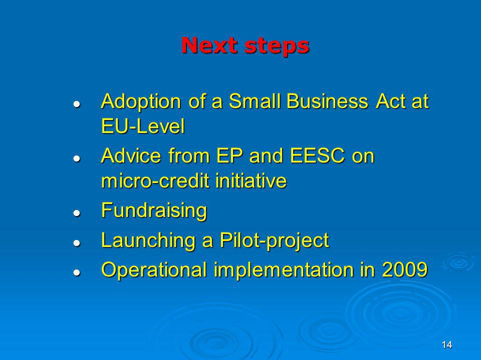 14 Adoption of a Small Business Act at EU-Level Adoption of a Small Business Act at EU-Level Advice from EP and EESC on micro-credit initiative Advice from EP and EESC on micro-credit initiative Fundraising Fundraising Launching a Pilot-project Launching a Pilot-project Operational implementation in 2009 Operational implementation in 2009 Next steps