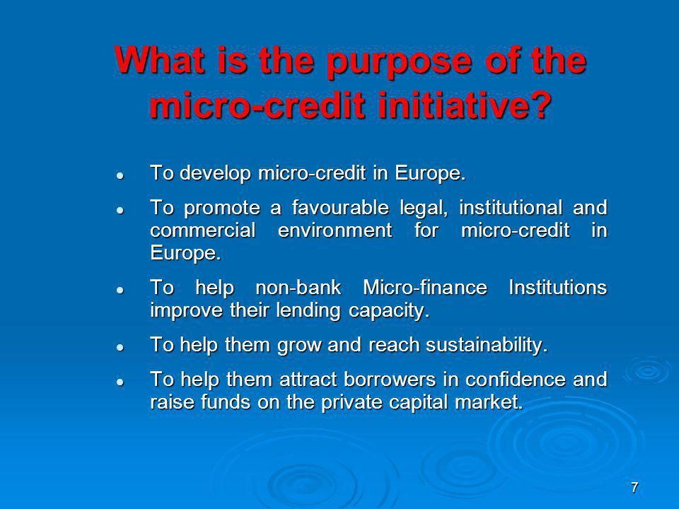 7 What is the purpose of the micro-credit initiative.