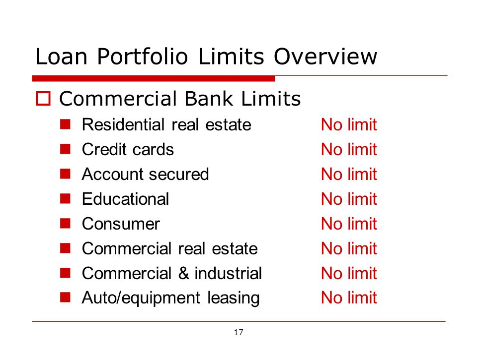17 Loan Portfolio Limits Overview Commercial Bank Limits Residential real estateNo limit Credit cardsNo limit Account securedNo limit EducationalNo limit ConsumerNo limit Commercial real estateNo limit Commercial & industrialNo limit Auto/equipment leasingNo limit