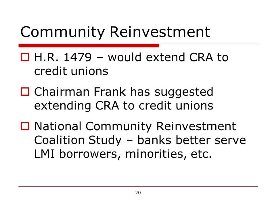 20 Community Reinvestment H.R.