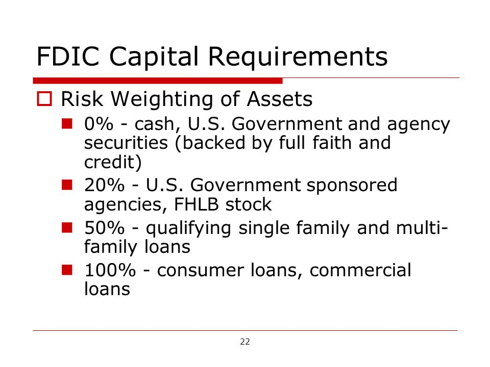 22 FDIC Capital Requirements Risk Weighting of Assets 0% - cash, U.S.