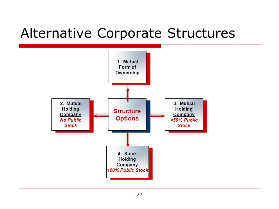 27 Alternative Corporate Structures Structure Options 1.