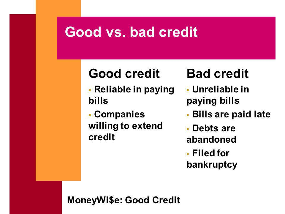 MoneyWi$e: Good Credit Borrowers responsibilities Borrow only what you can repay Read and understand the credit contract Pay debts promptly Notify creditor if you cannot meet payments Report lost or stolen credit cards promptly