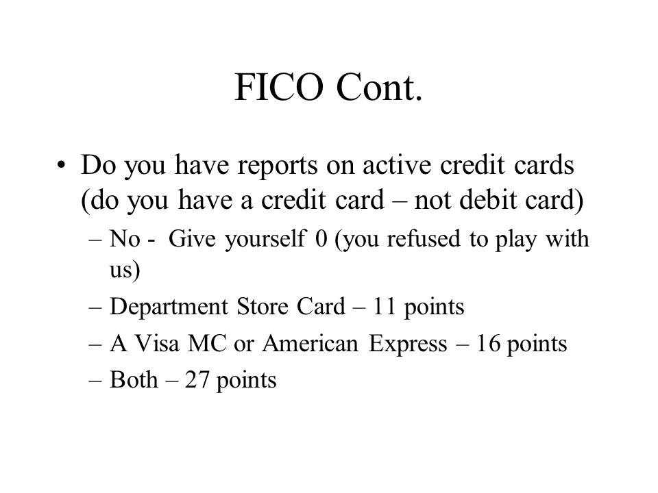 FICO Cont.