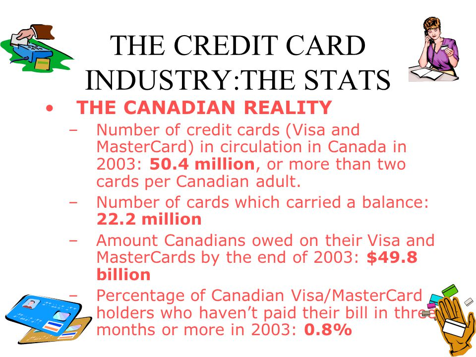 THE CREDIT CARD INDUSTRY:THE STATS THE CANADIAN REALITY –Number of credit cards (Visa and MasterCard) in circulation in Canada in 2003: 50.4 million,