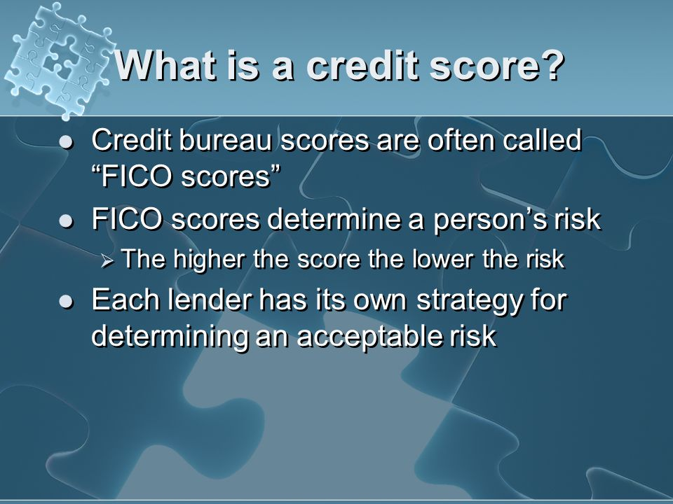 What is a credit score? A score is a snapshot of your credit risk at a particular point in time. A credit score is a number lenders use to help them d
