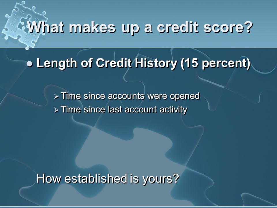 What makes up a credit score? Amount of Credit Owing Tips for Raising your Score Keep balances low on credit cards and other revolving credit. Pay off