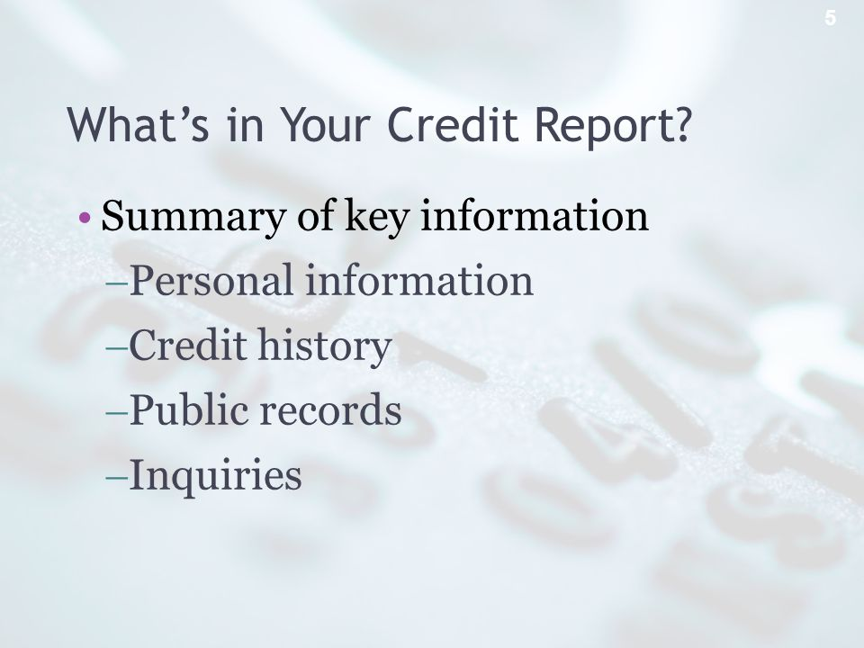 Whats in Your Credit Report.