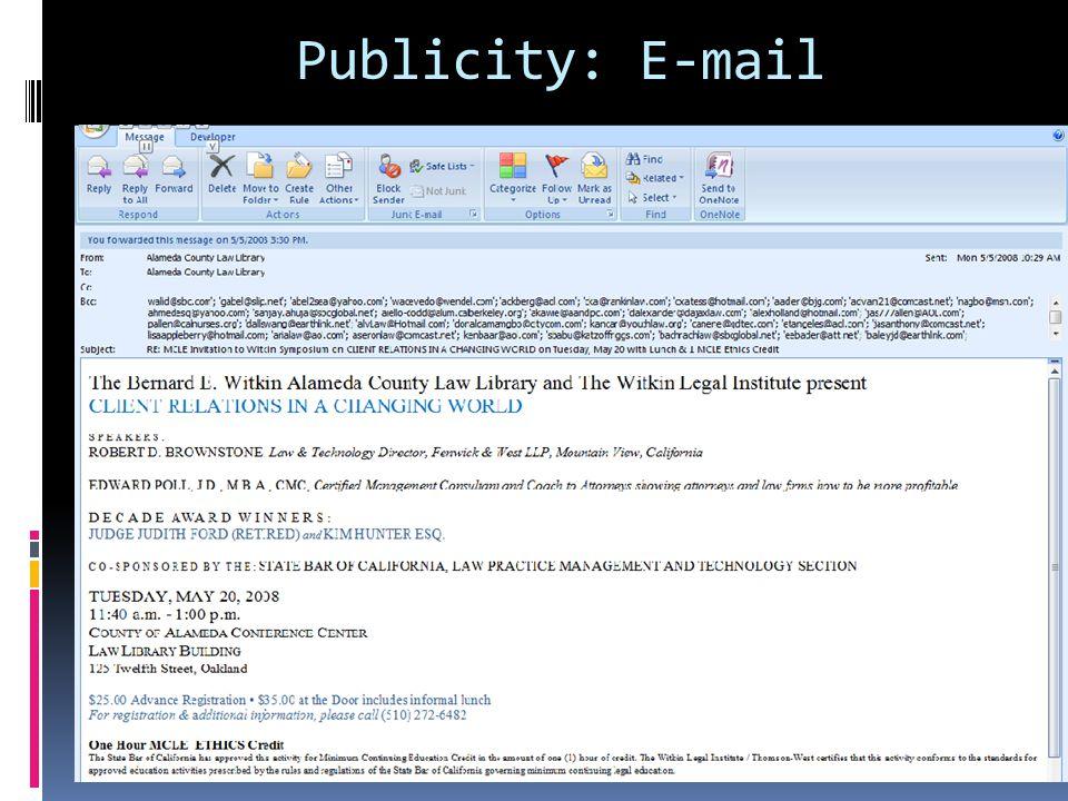 Publicity: E-mail