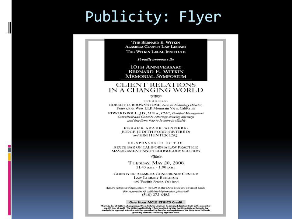 Publicity: Flyer