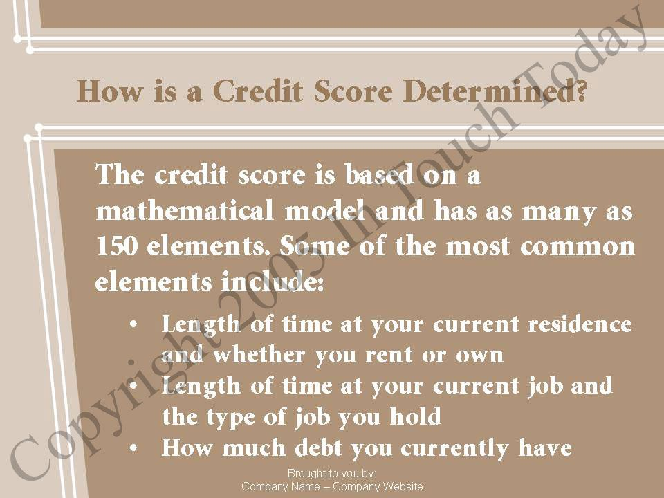 How is a Credit Score Determined