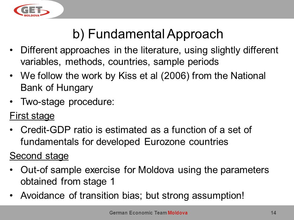 German Economic Team Moldova b) Fundamental Approach Different approaches in the literature, using slightly different variables, methods, countries, sample periods We follow the work by Kiss et al (2006) from the National Bank of Hungary Two-stage procedure: First stage Credit-GDP ratio is estimated as a function of a set of fundamentals for developed Eurozone countries Second stage Out-of sample exercise for Moldova using the parameters obtained from stage 1 Avoidance of transition bias; but strong assumption.