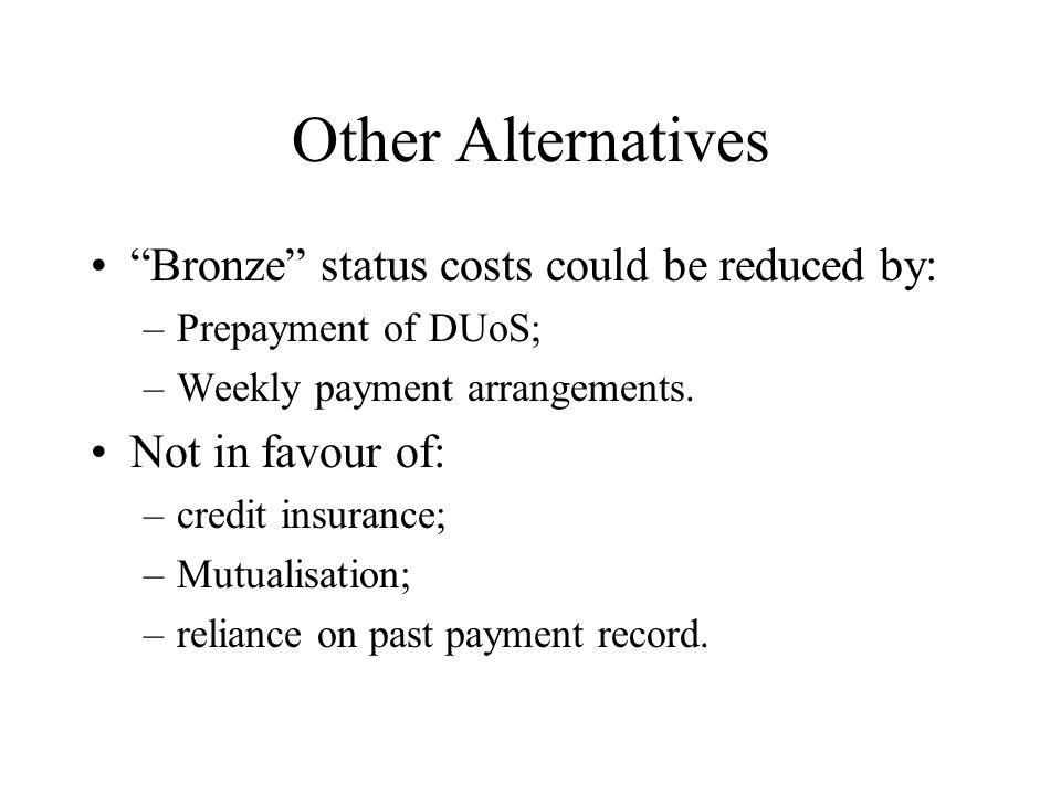 Other Alternatives Bronze status costs could be reduced by: –Prepayment of DUoS; –Weekly payment arrangements.