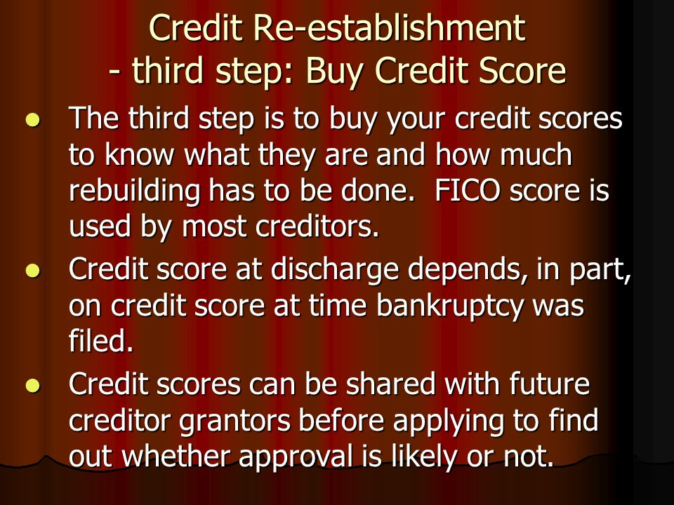 Credit Re-establishment - third step: Buy Credit Score The third step is to buy your credit scores to know what they are and how much rebuilding has t