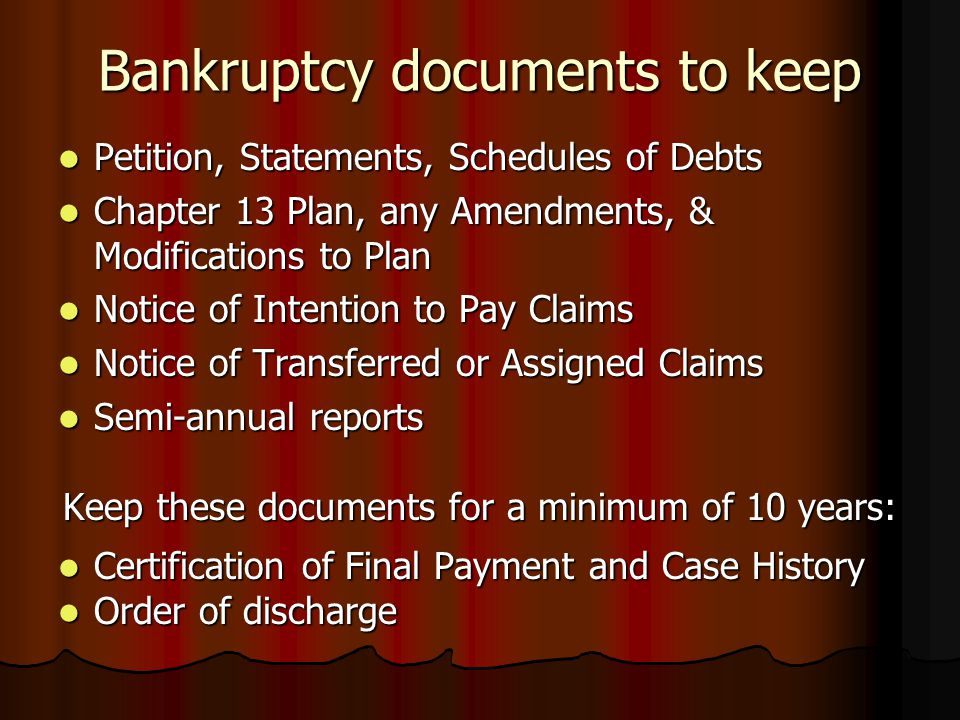 Bankruptcy documents to keep Petition, Statements, Schedules of Debts Petition, Statements, Schedules of Debts Chapter 13 Plan, any Amendments, & Modi