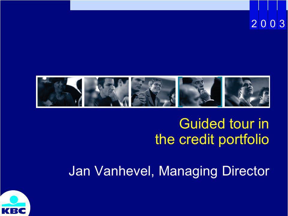 2003 Guided tour in the credit portfolio Jan Vanhevel, Managing Director