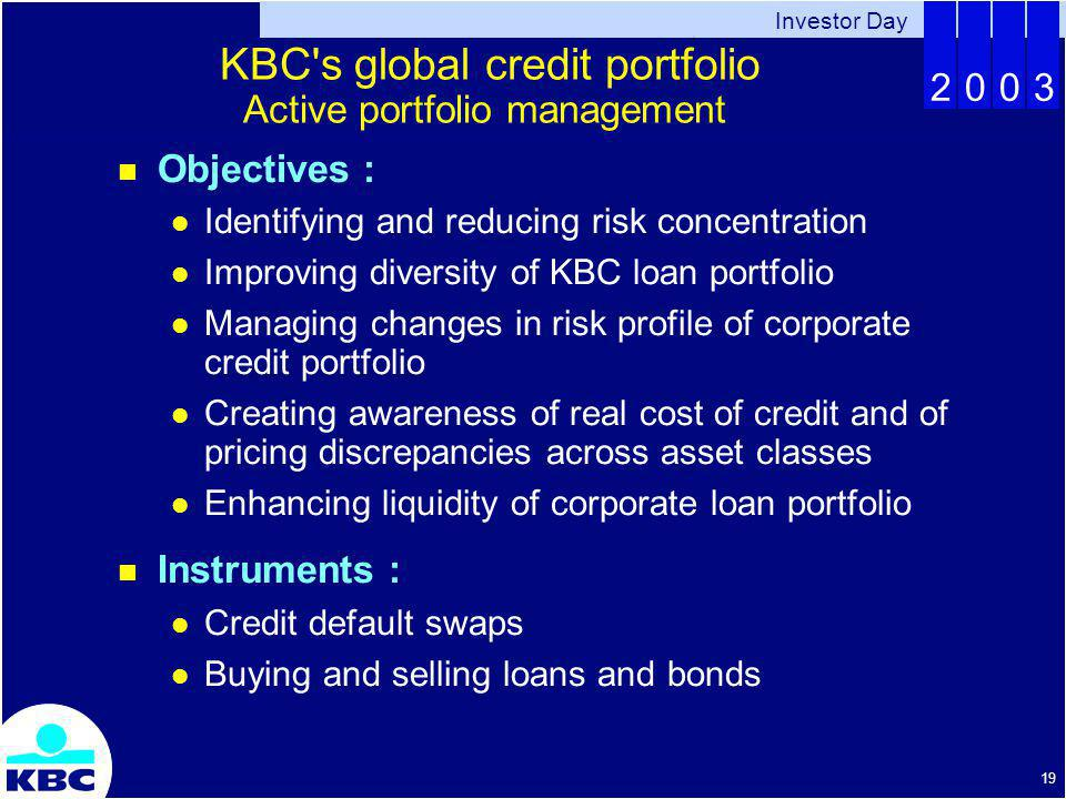 Investor Day 2003 19 KBC s global credit portfolio Active portfolio management Objectives : Identifying and reducing risk concentration Improving diversity of KBC loan portfolio Managing changes in risk profile of corporate credit portfolio Creating awareness of real cost of credit and of pricing discrepancies across asset classes Enhancing liquidity of corporate loan portfolio Instruments : Credit default swaps Buying and selling loans and bonds