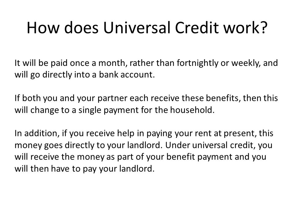 How does Universal Credit work.