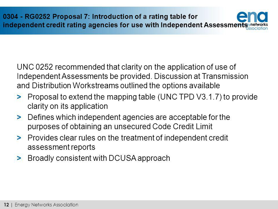 0304 - RG0252 Proposal 7: Introduction of a rating table for independent credit rating agencies for use with Independent Assessments UNC 0252 recommen