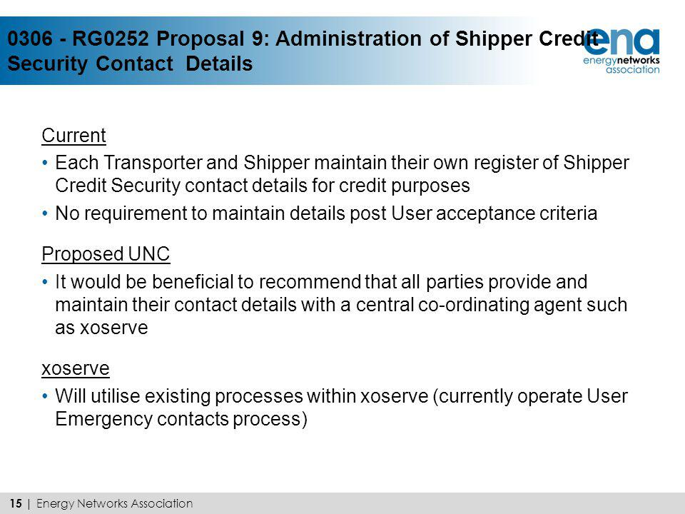 0306 - RG0252 Proposal 9: Administration of Shipper Credit Security Contact Details Current Each Transporter and Shipper maintain their own register o