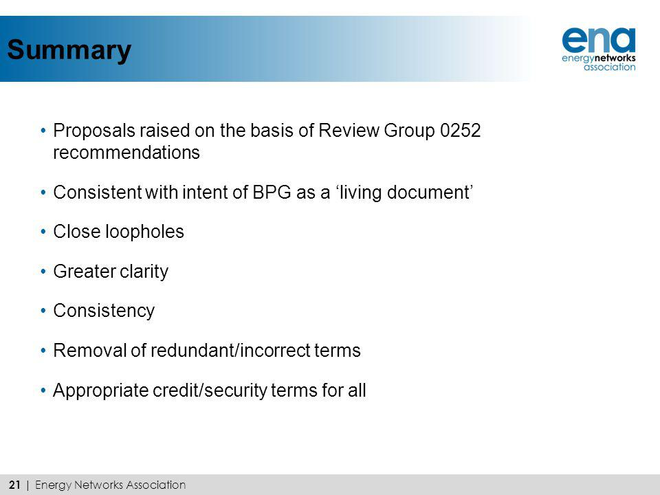 Summary Proposals raised on the basis of Review Group 0252 recommendations Consistent with intent of BPG as a living document Close loopholes Greater
