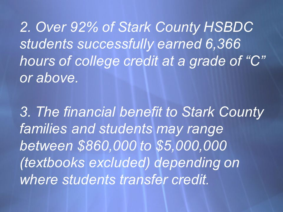 2. Over 92% of Stark County HSBDC students successfully earned 6,366 hours of college credit at a grade of C or above. 3. The financial benefit to Sta