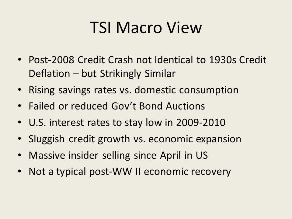 TSI Macro View Post-2008 Credit Crash not Identical to 1930s Credit Deflation – but Strikingly Similar Rising savings rates vs.