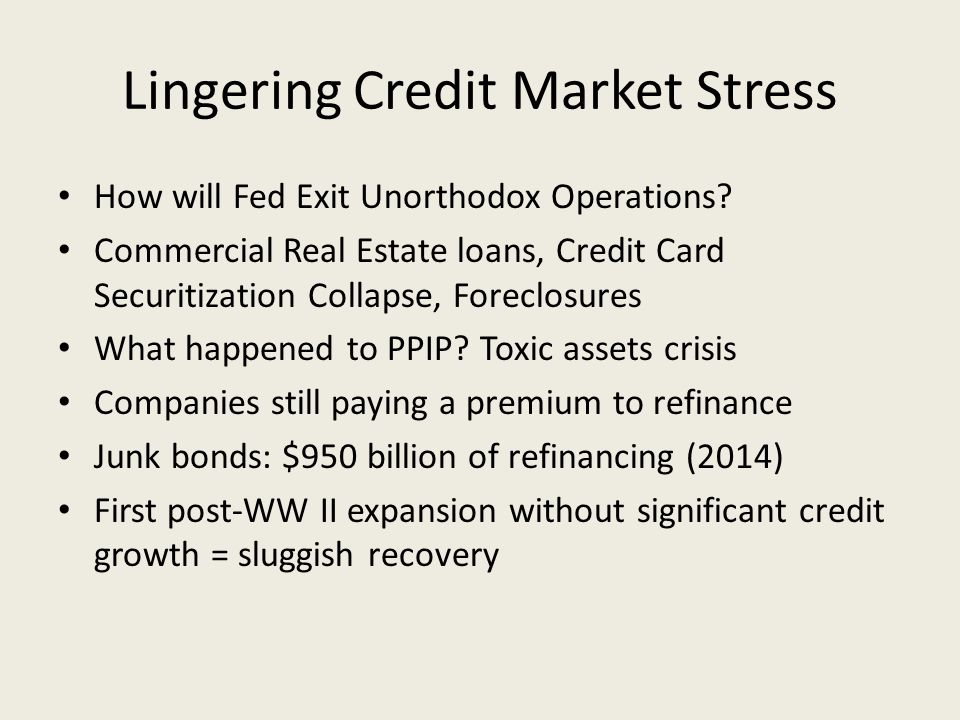 Lingering Credit Market Stress How will Fed Exit Unorthodox Operations.