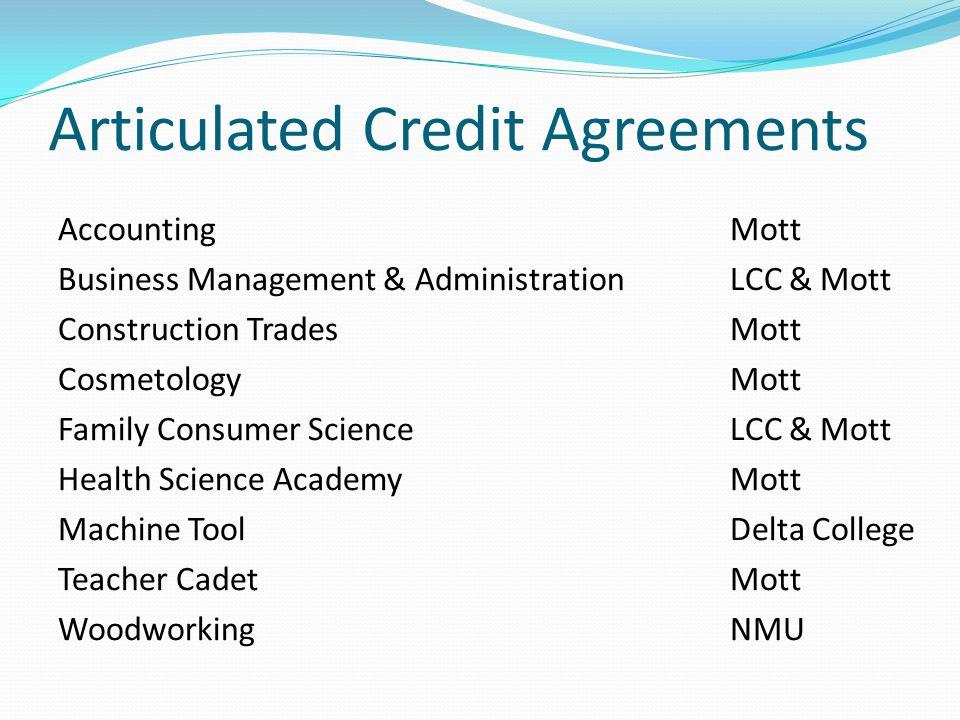 Articulated Credit Agreements AccountingMott Business Management & AdministrationLCC & Mott Construction TradesMott CosmetologyMott Family Consumer Sc