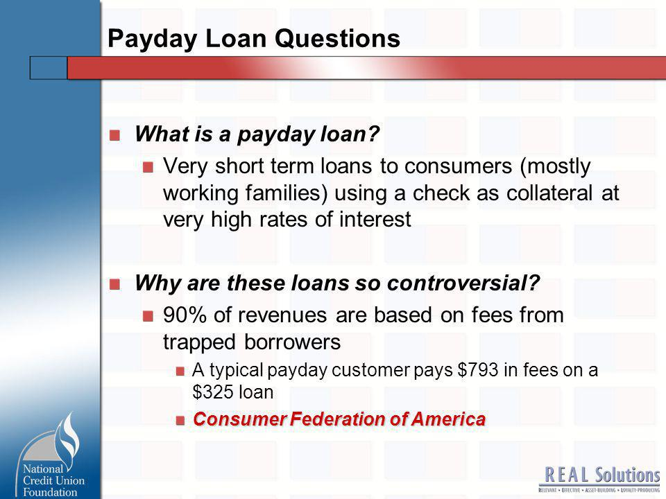 Size of Market How big is the payday loan industry.