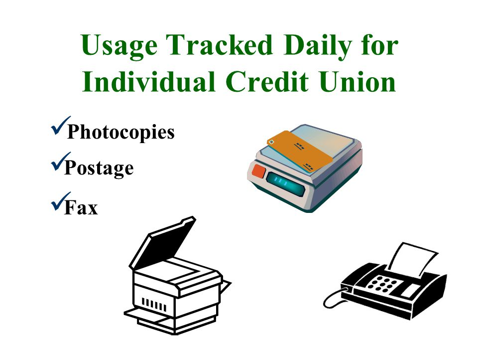 Usage Tracked Daily for Individual Credit Union Photocopies Fax Postage