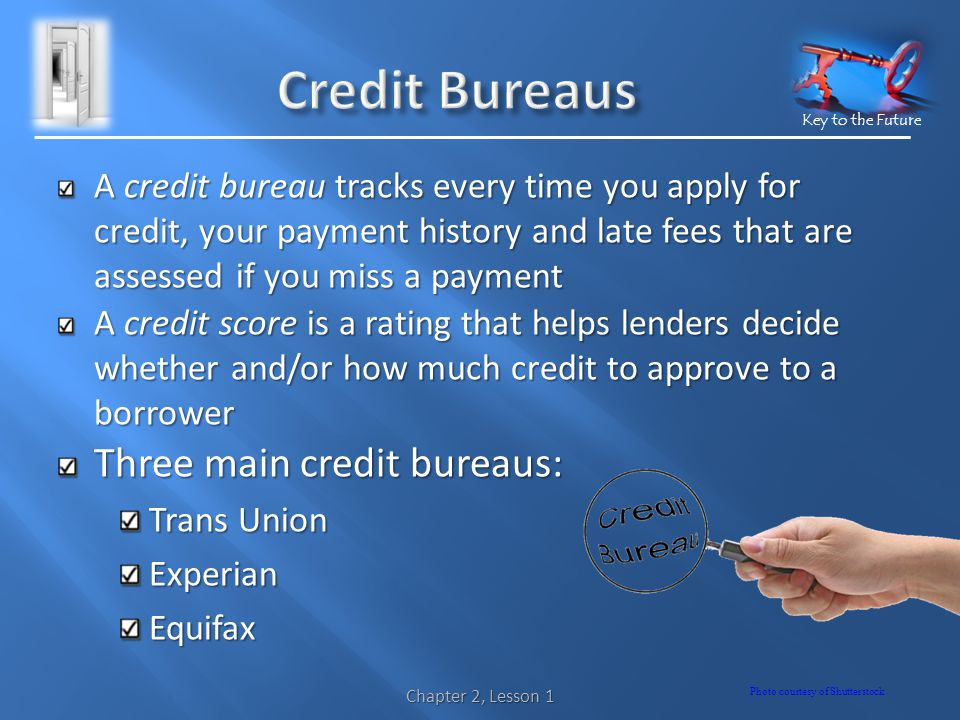 Key to the Future A credit bureau tracks every time you apply for credit, your payment history and late fees that are assessed if you miss a payment A credit score is a rating that helps lenders decide whether and/or how much credit to approve to a borrower Three main credit bureaus: Trans Union ExperianEquifax Chapter 2, Lesson 1 Photo courtesy of Shutterstock