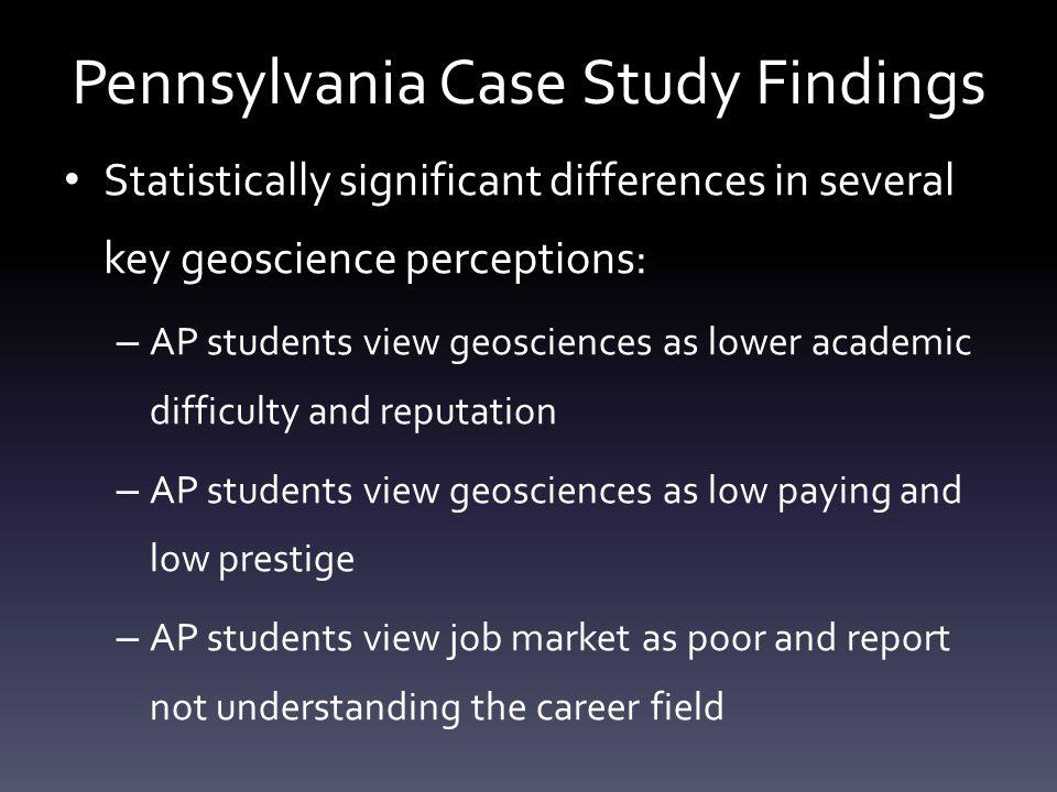 Pennsylvania Case Study Findings Statistically significant differences in several key geoscience perceptions: – AP students view geosciences as lower