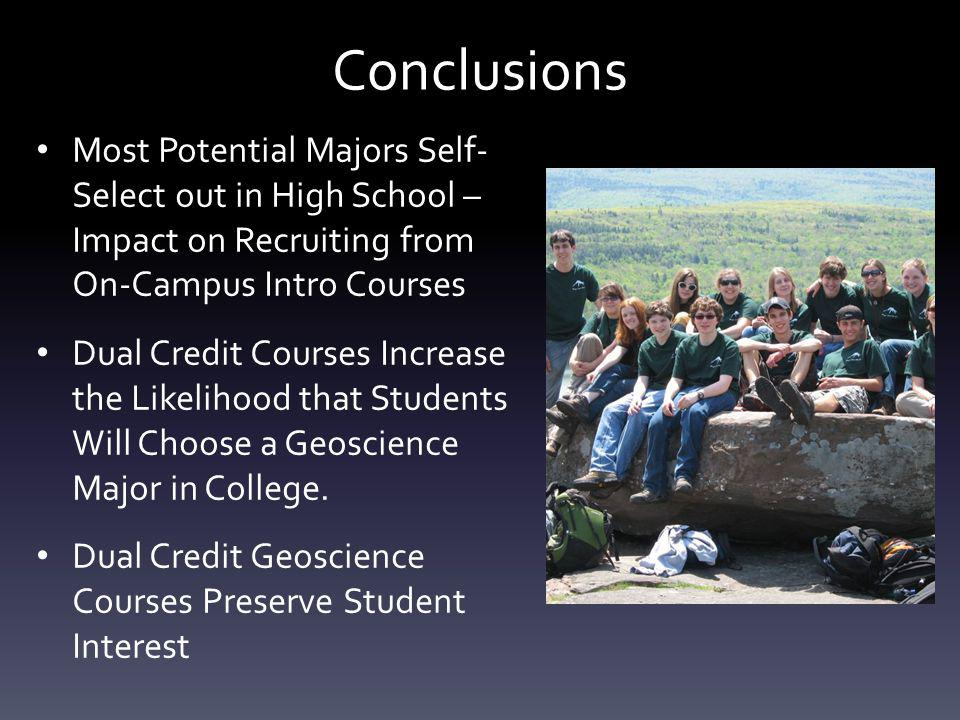 Conclusions Most Potential Majors Self- Select out in High School – Impact on Recruiting from On-Campus Intro Courses Dual Credit Courses Increase the